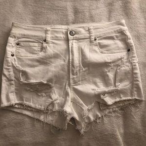 American Eagle high rise shortie denim shorts